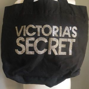 Victoria's Secret Black Canvas Tote